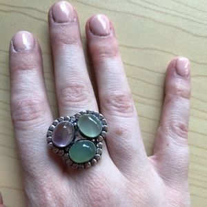 Sterling silver tri-stone ring